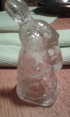 "1940's T. H. Stough ""Rabbit Eating Carrot"" Glass Candy Container -"