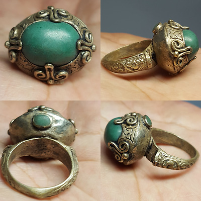Beautiful turquoise Old Turquoise silver stunning Ring #L