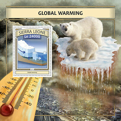 Sierra Leone 2016 MNH Global Warming 1v S/S Polar Bears Wild Animals Stamps