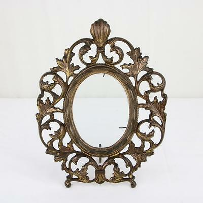 "Antique Gilt Oval Picture Frame Victorian 4.75"" Ornate w/ Glass Bronze Brass"