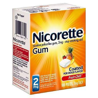 Nicorette Stop Smoking Aid Gum - 2mg - Fruit Chill - 100 Pieces - Exp 01/2018