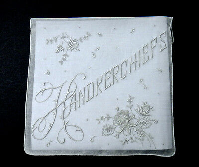 Antique Madeira Embroidery Organdy Handkerchief Case - Extremely Delicate Work