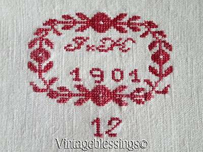Antique French Linen Monogram JH dated 1902 Linen Sheet Textile Center Seam
