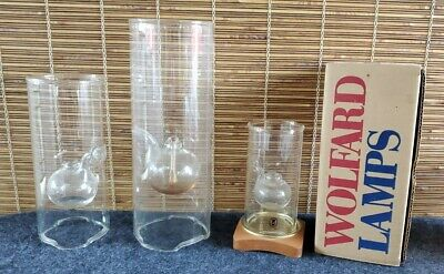 Wolfard 9in. hand blown glass oil lamp classic candle