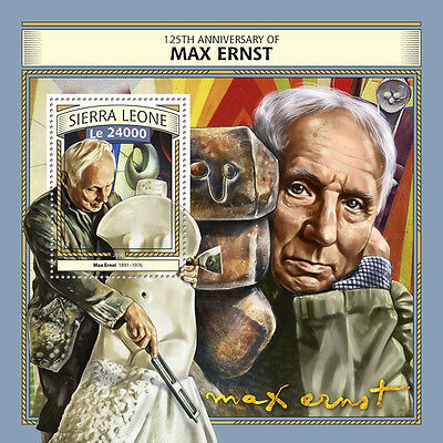 Sierra Leone 2016 MNH Max Ernst 125th Ann 1v S/S Sculptures Paintings Art Stamps