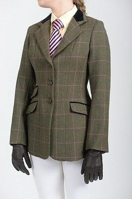 Shires Huntingdon Wool Tweed Show Hacking Jacket - Green/Pink Check - Size 30""