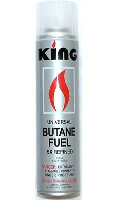 12 pack KING Lighter Gas Refill Butane Universal Fluid Fuel Ultra Refined 300ml