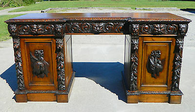 Highly Carved Tiger Oak Buffet Sideboard~~19th Century