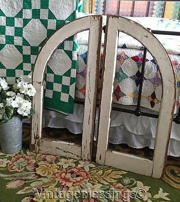 Wonderful Shabby Antique Curved PAIR Cottage Windows 32x15""