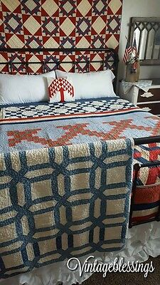 "Wonderful! Antique c1880s Indigo Blue & White Garden Maze QUILT 67"" x 57"""
