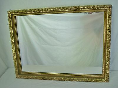 Fancy Floral Gesso Trimmed Wood Gilt Framed Mirror 31x23 Rectangle Peony Gold