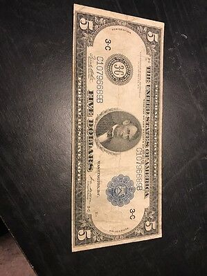 1914 $5 Philadelphia Type 3 Fr 855c Federal Reserve Note