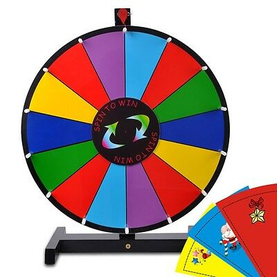 """18"""" Color Prize Wheel of Fortune Trade Show Tabletop Spin Game Editable"""