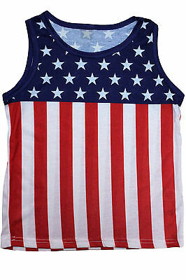 Kid's Usa Flag Sleeveless Shirt American Pride Stars And Stripes Tank Top S-Xl