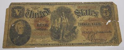 CONTEMPORARY COUNTERFEIT 1875 $5 Woodchopper legal tender