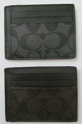 COACH Signature ID Holder Card Case Mini Wallet F75027
