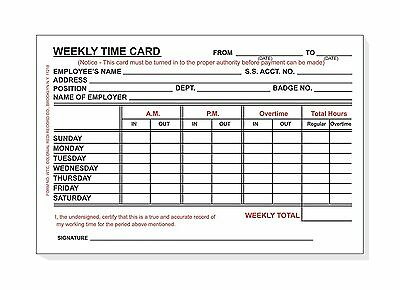 DOUBLE PACK Employee Weekly Time Card,100 sheets per pack - Sunday thru Saturday