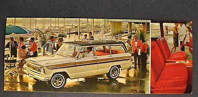 1966 Jeep Super Wagoneer White Postcard Brochure 4x4 Excellent Original 66