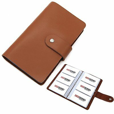 DEEZOMO Genuine Leather Business Card / Credit Card Organizer Book - 96 Cards -