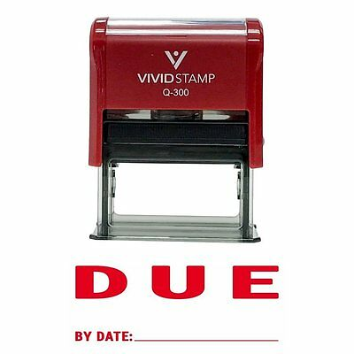 DUE By Date Self Inking Rubber Stamp Red Ink - Large
