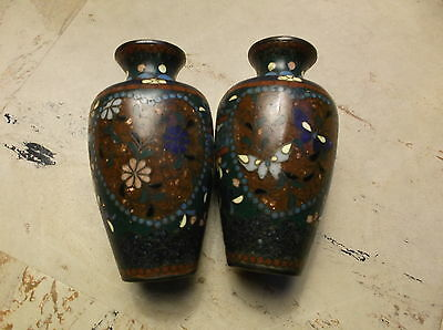 Antique Cloisonne Vases Pair with Golden Sparkle Japanese Chinese