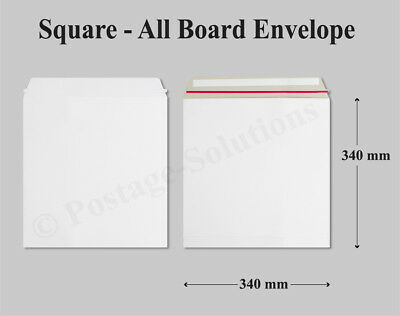 "50 Qty 340x340 mm White All Board Envelope 12"" record Mailers Cheapest on eBay!!"