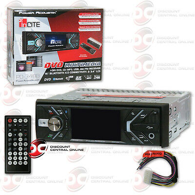 "Power Acoustik Pd-348B 3.4"" Lcd Dvd Bluetooth Stereo W/ Front Usb & Aux Input"