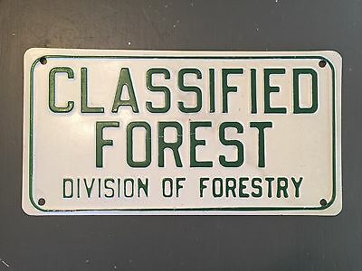 "Vtg classified forest division of forestry sign steel embossed 12"" national park"