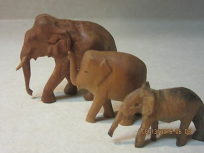 """3 made in germany vintage wood elephant figurines-   1-1/4"""", 1-1/2"""", 2"""" tall"""