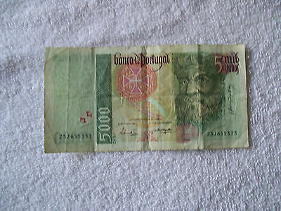5000 ESCUDOS banknote, 1999, folded, P-190, circulated,  Not a reproduction,