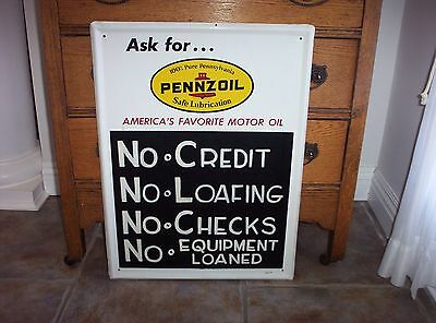 Vintage Pennzoil Tin Litho Advertising Gas Oil Sign Chalk Board Service Station