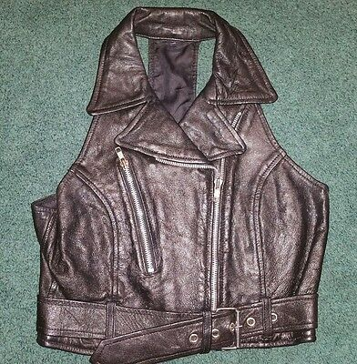 Womens Black Harley Davidson Vest Motorcycle Biker Size Medium Small Leather!