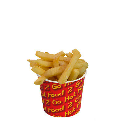 50x Chip Cup 8oz / 225g Hot Food 2 Go Print 87x75mm Disposable Takeaway NEW