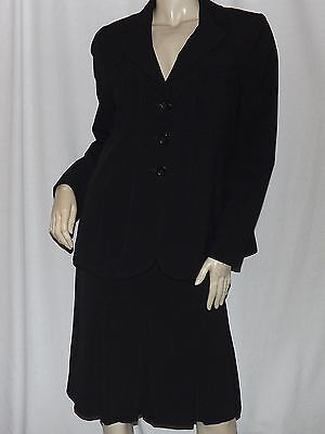 MOTHERHOOD MATERNITY Black Pleated Skirt Suit Size M Three Button Long Blazer