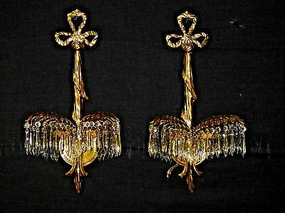 ANTIQUE Pair Palm Brass 2-Lite Crystal Sconce Wall Chandelier