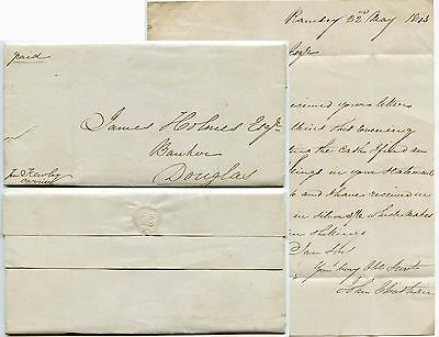 ISLE of MAN 1843 RAMSEY by COURIER KEWLEY to HOLMES in DOUGLAS