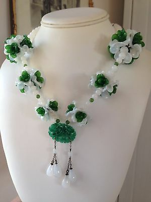 Vintage Antique French Glass Flowers Necklace Peking Green Carved Glass Dangles