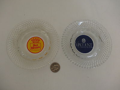 2 Vintage Hobnail clear glass Hotel Ashtrays Best Western Viscount