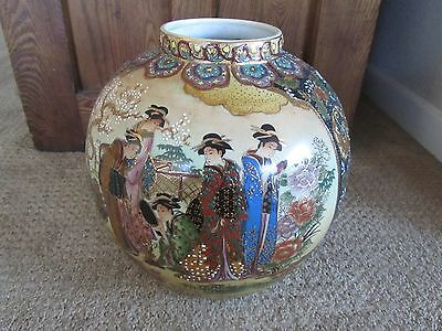 JAPANESE SATSUMA VASE GEISHA Antique Beautiful Hand Painted Raised Gold Enamel