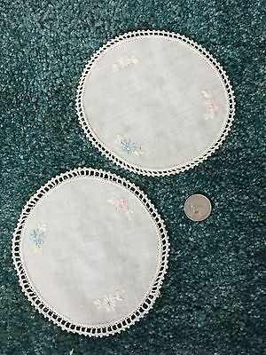 """ANTIQUE round 5""""  Linen DOILY  COASTERS Embroidered edge and design"""