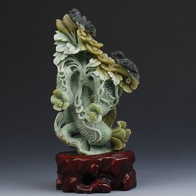 Exquisite Chinese natural Dushan jade Hand carving cucumber&bird statue