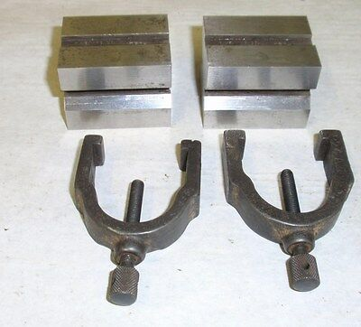 Brown and Sharpe Matching Set of V Blocks Model 750-A with clamps