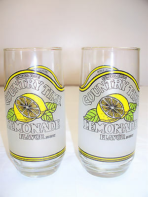 Vintage Country Time Lemonade General Foods Collectible Glasses Set of 2