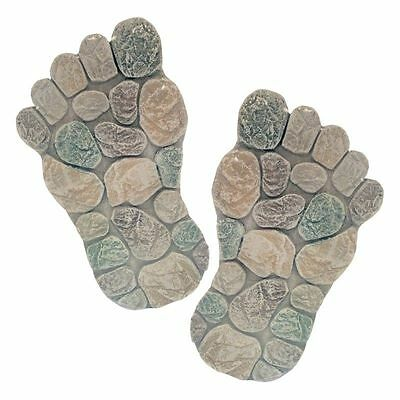 New Set of 2 Decorative Foot Garden Outdoor Stepping Stones 1 Right 1 Left Foot