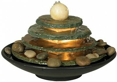 """Pyramid Feng Shui Ball Table Fountain, Lighted 10"""" H, River Rock, Soothing Water"""