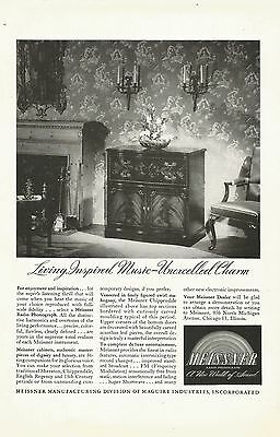 1946 Meissner Chippendale Radio/Phonograph Vintage B&W Photo Magazine Print Ad
