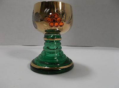 "Vintage Green Romer Roemer Cordial Glass 2 3/4""H Gilded, Engraved, Jeweled HTF"