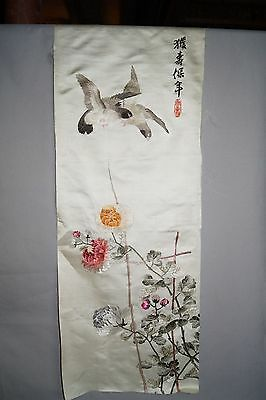 Chinese Embroidery Silk Panel Birds Flowers Calligraphy Poem
