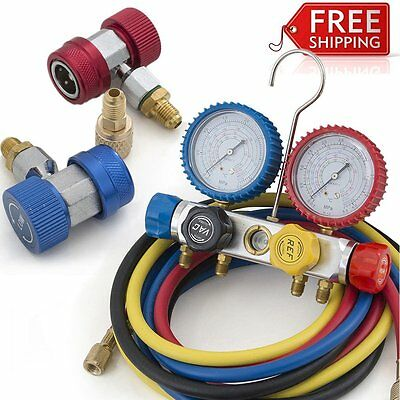 4 Way Valve Manifold Gauge 4 Hoses Quick Adapter HVAC Kit R410a R134a R12 R22 LY