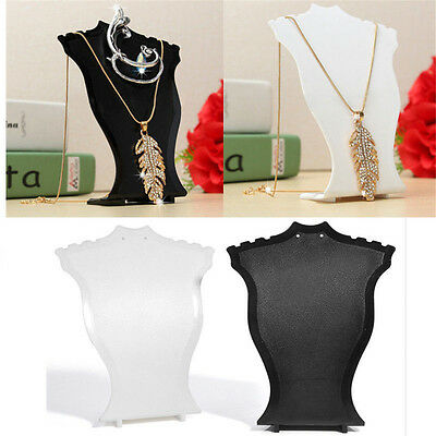 Pendant Necklace Chain Earring Bust Neck Display Stand Holder Showcase Plastic